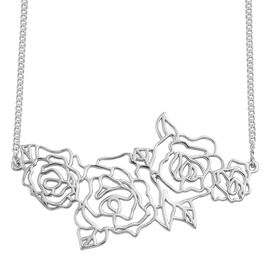 Kimberley Bloom Collection Platinum Overlay Sterling Silver Floral Necklace (Size 18), Silver wt 11.40 Gms.