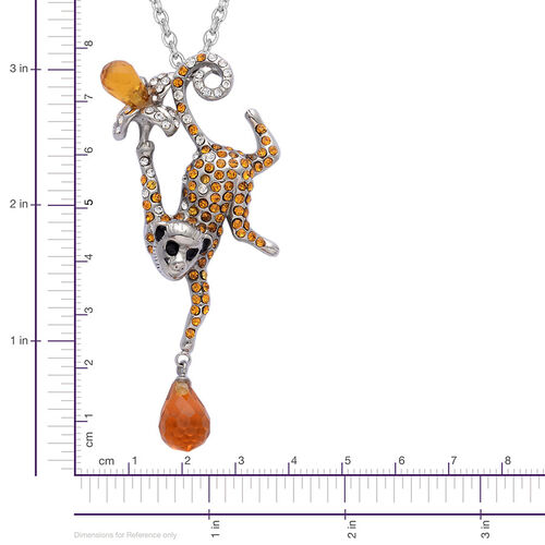 J Francis Made with Swarovski Crystal - White Crystal, Champagne Colour Diamond Monkey Shape Pendant in Rhodium Plated With Stainless Steel Chain