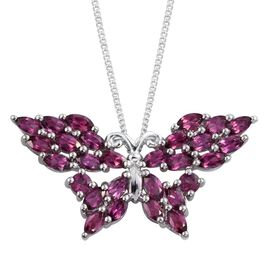 Odisha Rhodolite Garnet (Mrq) Butterfly Pendant with Chain in Platinum Overlay Sterling Silver 2.750 Ct.
