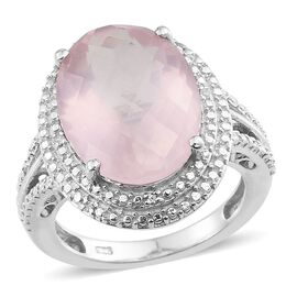 Checkerboard Cut Rose Quartz (Ovl 8.50 Ct), Diamond Ring in Platinum Overlay Sterling Silver 8.540 Ct.