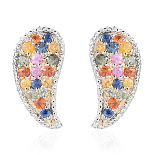 Rainbow Sapphire (Rnd) Leaf Stud Earrigns (with Push Back) in 14K Gold Overlay Sterling Silver 4.001 Ct.