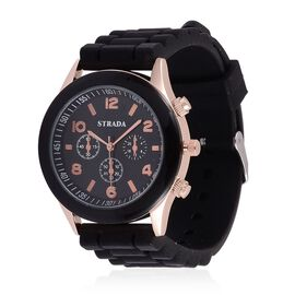 Designer Inspired STRADA Rose Gold Tone Watch with Black Silicone Strap with Gift Paking Box