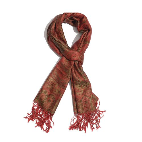 100% Superfine Silk Green and Multi Colour Paisley Pattern Red Colour Jacquard Jamawar Scarf with Fringes (Size 180x70 Cm) (Weight 125 - 140 Grams)
