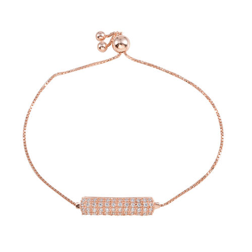 Designer Inspired JCK Vegas Collection AAA Simulated Diamond (Rnd) Adjustable Bracelet (Size 6 to 9) in Rose Gold Overlay Sterling Silver