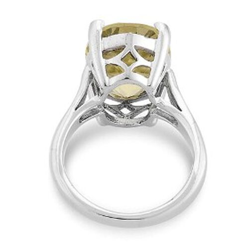 KARIS Brazilian Green Gold Quartz (7.75 Ct) Platinum Bond Brass Ring