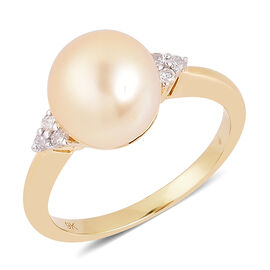9K Y Gold South Sea Golden Pearl (Rnd 10- 10.5 mm), Diamond Ring
