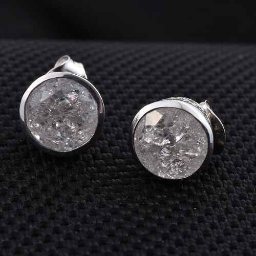 White Crackled Quartz (Rnd) Stud Earrings (with Push Back) in Platinum Overlay Sterling Silver 3.750 Ct.
