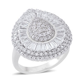 AAA Simulated White Diamond (Baguette and Round) Ring in Rhodium Plated Sterling Silver