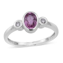 ILIANA 18K W Gold Pink Sapphire (Ovl 0.90 Ct), Diamond Ring 1.000 Ct.