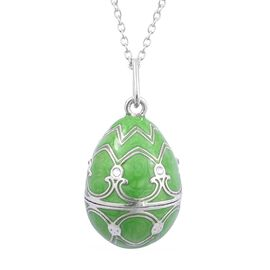Designer Inspired AAA White Austrian Crystal Studded Green Enameled Pendant With Rabbit Charm Inside and Chain in Silver Tone