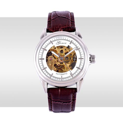 GENOA Automatic Skeleton Golden and White Dial Water Resistant Watch in Silver Tone with Stainless Steel Back and Chocolate Colour Strap