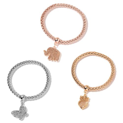 AAA White Austrian Crystal Elephant, Butterfly and Owl Charm Popcorn Chain Stretchable Bracelet (Size 7.5) in Silver, Yellow and Rose Gold Tone