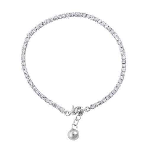 ELANZA AAA Simulated White Diamond (Rnd) Bracelet (Size 7.5) in Rhodium Plated Sterling Silver
