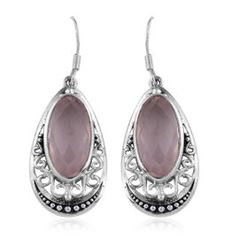 Rose Quartz (Ovl) Hook Earrings in Sterling Silver 15.550 Ct.