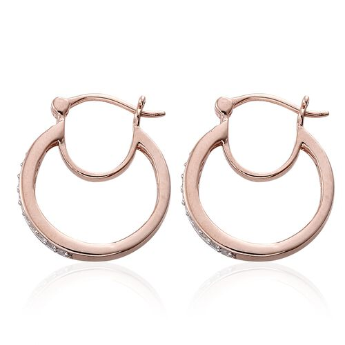 Diamond 0.25 Carat Silver Hoop Earrings in Rose Gold Overlay(with Clasp)