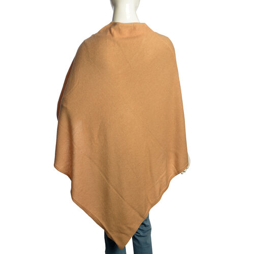 100% Very Rare Pashmina Wool Designer Inspired Womens Poncho in Beige Colour (Free Size)