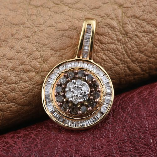 Natural Champagne Diamond, White Diamond Pendant in 14K Gold Overlay Sterling Silver 0.350 Ct.