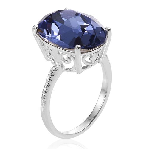 Crystal from Swarovski - Tanzanite Colour Crystal (Ovl) Ring in Sterling Silver