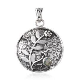 Jewels of India Ethiopian Welo Opal (Rnd) Floral and Leaves Pendant in Sterling Silver