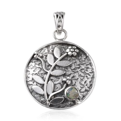 (Option 2) Ethiopian Welo Opal (Rnd) Floral and Leaves Pendant in Sterling Silver
