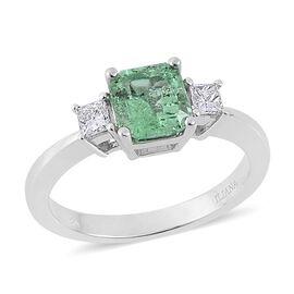 ILIANA 18K W Gold Boyaca Colombian Emerald (Oct 1.25 Ct), Diamond Ring 1.500 Ct.