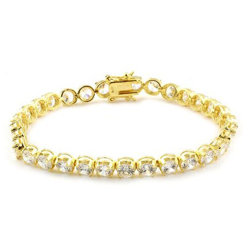 Simulated Diamond (AAA) (Rnd) Tennis Bracelet in 14K Gold Overlay Sterling Silver (Size 7.5) 20.000 Ct.