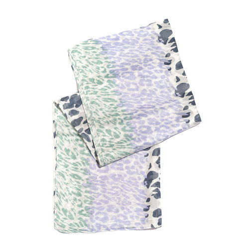 Blue, Purple and Green Colour Leopard Pattern White Colour Scarf (Size 180x100 Cm)