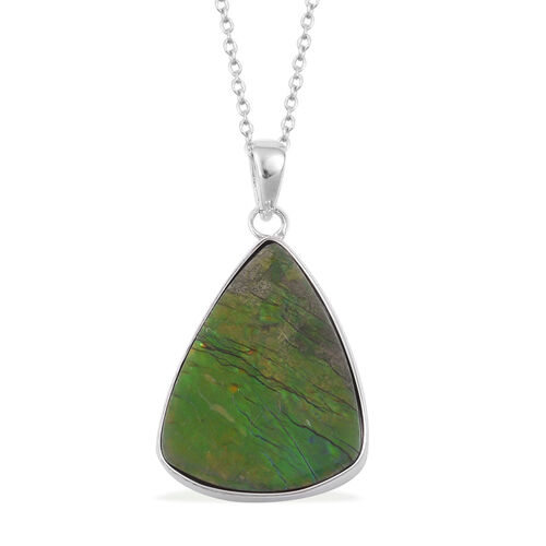Canadian Ammolite Pendant With Chain in Rhodium Plated Sterling Silver 13.260 Ct.