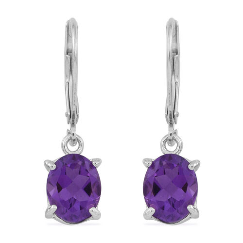 Amethyst (Ovl) Lever Back Earrings in Rhodium Plated Sterling Silver 3.500 Ct.