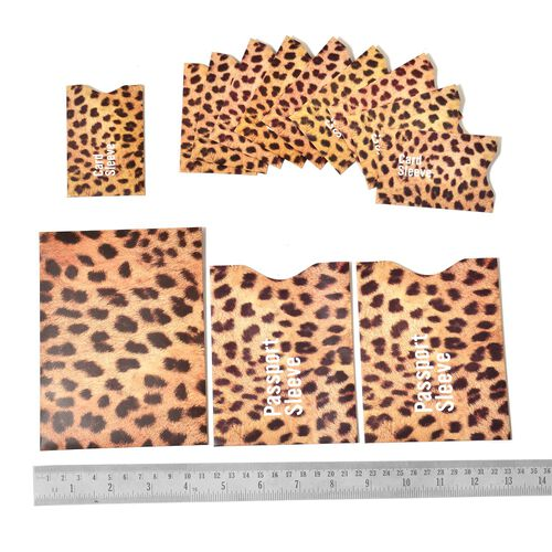 Super Bargain Price - Set of 13 Leopard Print RFID Sleeves - 1 Large, 2 for Passport, 10 for Credit Cards