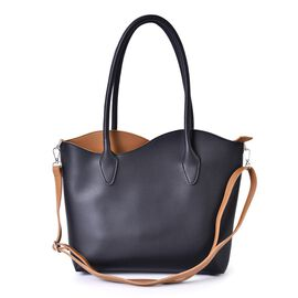 Black and Camel Colour Tote Bag with External Zipper Pocket and Adjustable and Removable Shoulder Strap (Size 41x31x27.5x8 Cm)