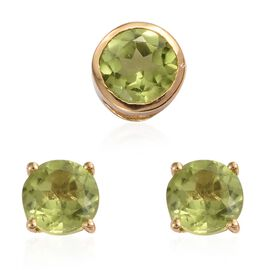 Hebei Peridot (Rnd) Solitaire Pendant and Stud Earrings (with Push Back) in 14K Gold Overlay Sterling Silver 2.250 Ct.