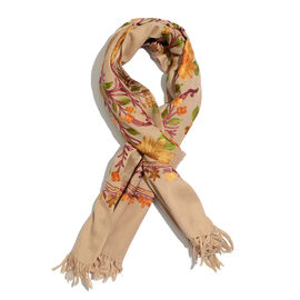 100% Merino Wool Multi Colour Floral and Leaves Embroidered Beige Colour Scarf with Fringes (Size 190x70 Cm)