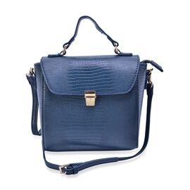 Croc Embossed Navy Blue Colour Crossbody Bag with Adjustable and Removable Shoulder Strap (Size 17x16x5 Cm)