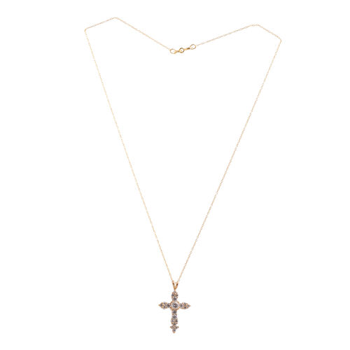 Close Out Deal AAA Simulated Diamond (Rnd) Cross Pendant With Chain in Yellow Gold Overlay Sterling Silver