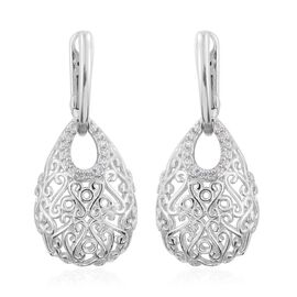 SUPER AUCTION - J Francis - Platinum Overlay Sterling Silver (Rnd) Filigree Earrings (with Latch Back) Made with SWAROVSKI ZIRCONIA. Total Silver Wt 8.00 Gms