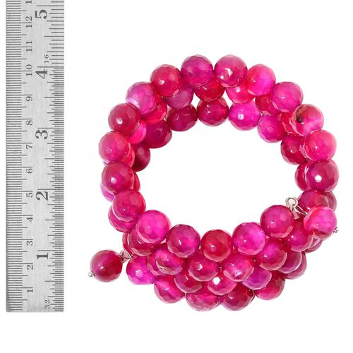 Fuchsia Agate Multi Strand Adjustable Bracelet (Size 6 to 8.5) in Stainless Steel 240.000 Ct.