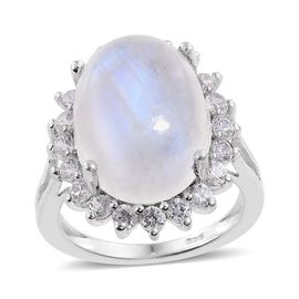 Rainbow Moonstone (Ovl 10.00 Ct), Natural Cambodian Zircon Ring in Platinum Overlay Sterling Silver 11.500 Ct.