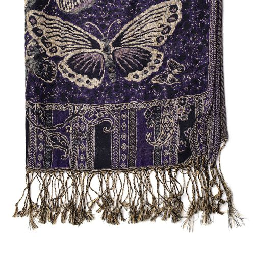 Gold and Multi Colour Butterfly Pattern Purple Colour Scarf with Tassels (Size 175x68 Cm)