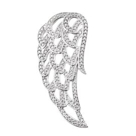 Diamond (Rnd) Feather Pendant in Platinum Overlay Sterling Silver