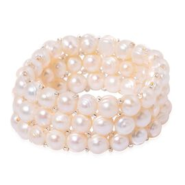 Fresh Water White Pearl and Simulated White Diamond Multi Strand Stretchable Bracelet (Size 7.5)