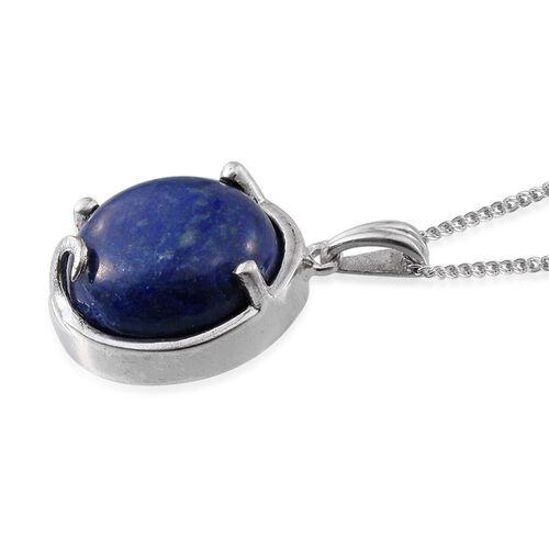 Lapis Lazuli (Rnd) Solitaire Pendant With Chain in Platinum Overlay Sterling Silver 10.250 Ct.