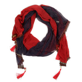 Floral Pattern Blue and Red Colour Scarf (Size 170x65 Cm)