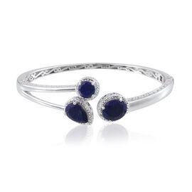 Lapis Lazuli (Ovl 5.00 Ct), Diamond Bangle (Size 7.5) in Platinum Overlay Sterling Silver 10.010 Ct.