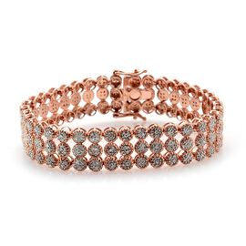Diamond (Rnd) Bracelet (Size 7) in Rose Gold Overlay Sterling Silver 2.000 Ct.