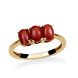 Natural Mediterranean Coral (Ovl) Trilogy Ring in 14K Gold Overlay Sterling Silver 1.650 Ct.