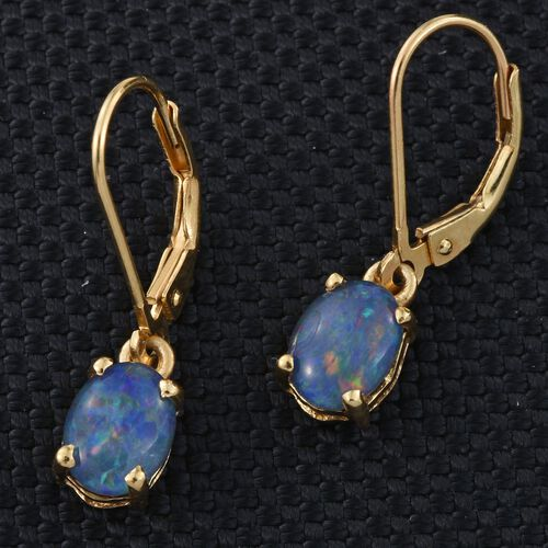 Boulder Opal Triplet (Ovl) Lever Back Earrings in 14K Gold Overlay Sterling Silver 1.750 Ct.