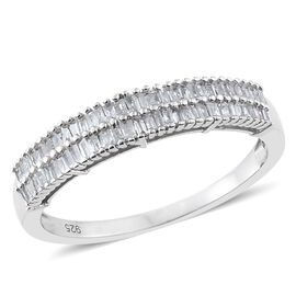 Designer Inspired - Diamond (Bgt) Ring in Platinum Overlay Sterling Silver 0.500 Ct.