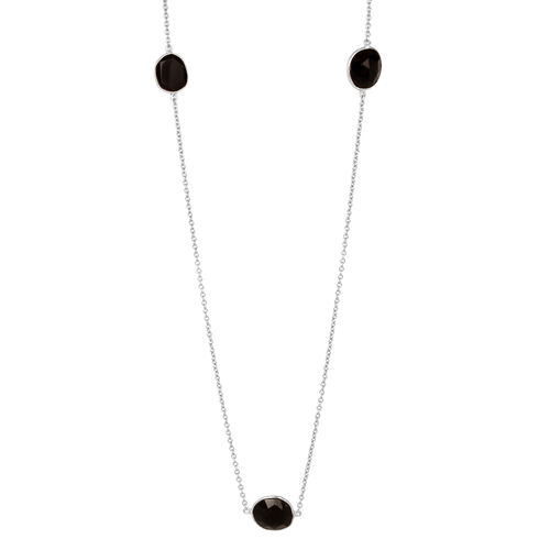 Jewels of India Boi Ploi Black Spinel Necklace (Size 20) in Stainless Steel 6.990 Ct.