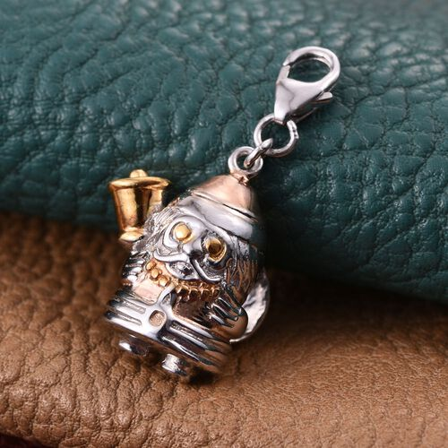 14K Gold and Platinum Overlay Sterling Silver Santa Claus with Bell Charm, Silver wt 5.82 Gms.